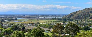 Ansicht von Christchurch-Stadt vom Berg angenehm in Canterbury Lizenzfreie Stockfotografie