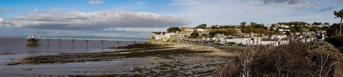 Ansicht von Clevedon und von viktorianischem Pier in Somerset England lizenzfreie stockfotografie