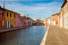 Ansicht von Comacchio, Ferrara, Italien Lizenzfreie Stockbilder