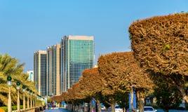 Ansicht von Corniche-Straße in Abu Dhabi Stockfotografie