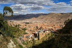 Ansicht von Cusco von Saksaywaman, Cusco, Peru Stockbild
