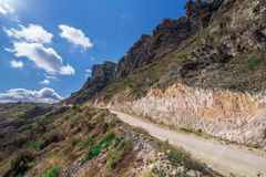 Ansicht von den Bergen in Oman stockbilder