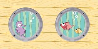 Ansicht von den Bootsfenstern: Seahorse und Fische Lizenzfreie Stockfotografie