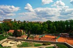 Ansicht von den Stadtmauern in TÃ-¡ bor, Tschechische Republik, August stockbilder