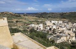 Ansicht von den Wänden von Victoria-` s Zitadelle auf Gozo, Malta Stockbilder