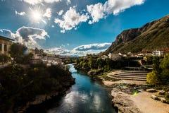 Ansicht von der alten Brücke in Mostar Lizenzfreie Stockfotos