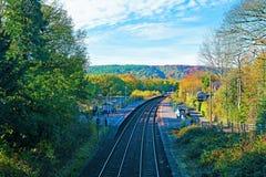 Ansicht von der Brücke von Grindleford-Bahnhof, East Midlands stockbild