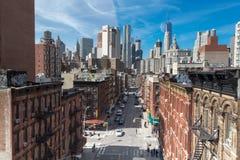 Ansicht von der Brücke in New York auf Chinatown Lizenzfreie Stockbilder