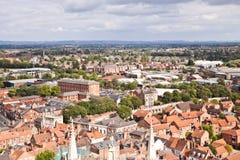 Ansicht von der Dachspitze zur Stadtmitte stockbild