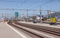Ansicht von der hauptsächlichbahnhofsplattform Zürichs Lizenzfreie Stockbilder