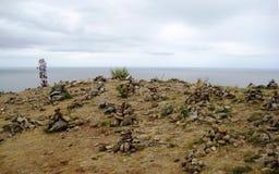 Ansicht von der Insel von Olkhon Stockfotos
