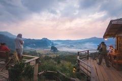 Ansicht von der Kaffeestube an Berg Phu Langka Lizenzfreies Stockfoto