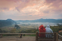 Ansicht von der Kaffeestube an Berg Phu Langka Stockfotografie