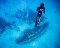 Ansicht von der Oberfläche eines Schiffbruchs in San Andres, Kolumbien Lizenzfreies Stockfoto