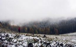 Ansicht von der Oberseite des Berges Dunkelgrüne Steigungen und Hügel der Karpaten Schöne Aussicht der Berge Früher Morgen schnee Stockfotos