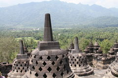 Ansicht von der Oberseite des Borobudur Tempels, Indonesien Stockfotos