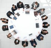 Ansicht von der Oberseite SitzungsTeilhaber für runden Tisch Lizenzfreies Stockfoto