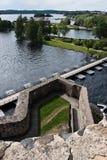 Ansicht von der Olavinlinna Festung Stockbilder