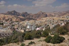 Ansicht von der PETRA-Stadt zu archäologischem Site PETRA Lizenzfreies Stockfoto