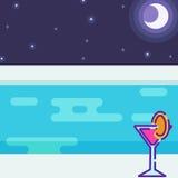 Ansicht von der Pool-Party nachts Lizenzfreies Stockfoto