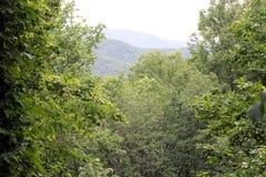 Ansicht von der rauchigen Berghütte lizenzfreies stockbild