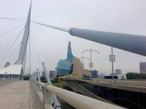 Ansicht von der Riel-Esplanade in Winnipeg, Manitoba, Kanada Lizenzfreies Stockfoto
