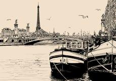 Ansicht von der Seine in Paris mit Lastkähnen und Eiffelturm lizenzfreie abbildung