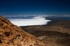 Ansicht von der Spitze der Spitze des Bergs Teide Stockbilder