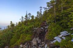 Ansicht von der Spitze des Berges auf der Bank Lizenzfreies Stockfoto