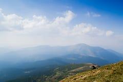 Ansicht von der Spitze des Berges Hoverla, Karpatenberge Stockbild
