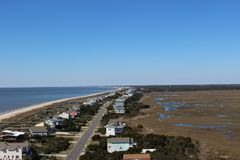 Ansicht von der Spitze des Eichen-Insel-Leuchtturmes Lizenzfreie Stockbilder