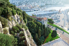Ansicht von der Spitze des Hafens in Nizza Lizenzfreie Stockfotos