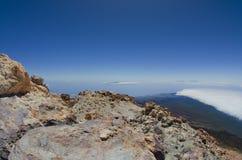 Ansicht von der Spitze Teide-Vulkans, der höchste spanische Berg Lizenzfreies Stockfoto