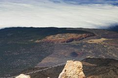 Ansicht von der Spitze Teide-Vulkans, der höchste spanische Berg Stockbild