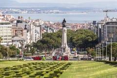 Ansicht von der Spitze von parque Eduardo in Lissabon Stockfotografie