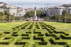 Ansicht von der Spitze von parque Eduardo in Lissabon Stockbilder