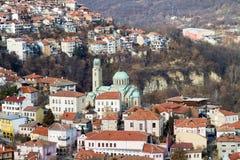 Ansicht von der Stadt Veliko Tarnovo in Bulgarien Stockfotografie