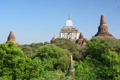 Ansicht von der Tempel-Oberlederterrasse Mimalaung Kyaung Bagan myanmar Lizenzfreies Stockfoto