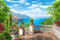 Ansicht von der Terrasse Stockfoto