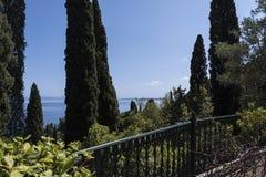Ansicht von der Terrasse am Achilleions-Palast auf der Insel von Korfu Griechenland errichtet von der Kaiserin Elizabeth von Öste Stockfotografie