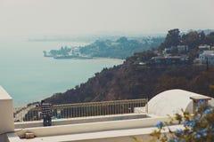 Ansicht von der Terrasse des Luxuxlandhauses Lizenzfreie Stockfotos