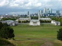 Ansicht von Docklands. London-Bankenviertel lizenzfreie stockfotos