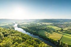 Ansicht von Dordogne-Tal in Frankreich stockfotos