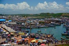 Ansicht von Dorf arround Elmina-Schloss Lizenzfreies Stockfoto