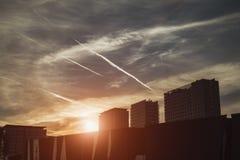 Ansicht von drei Wohnhäusern Barcelona-Forumbezirk, ev stockfotografie
