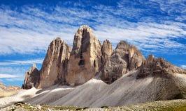 Ansicht von Drei Zinnen oder von Tre Cime di Lavaredo Lizenzfreie Stockfotografie