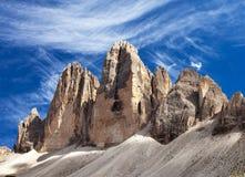 Ansicht von Drei Zinnen oder von Tre Cime di Lavaredo Lizenzfreie Stockfotos
