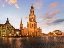 Ansicht von Dresden auf Sonnenuntergang Deutschland, Sachsen Lizenzfreie Stockfotos