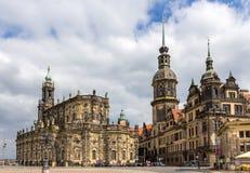 Ansicht von Dresden-Schloss und von Kathedrale - Deutschland Lizenzfreies Stockfoto
