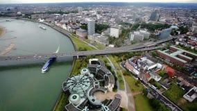 Ansicht von Dusseldorf von der Spitze stock video footage